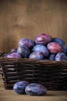 blå plommon i korgen foto