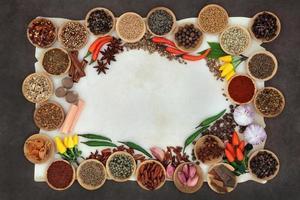 krydda och ört abstrakt gräns foto
