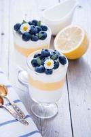 citron blåbär dessert foto