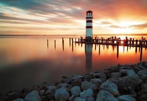 landskap hav solnedgång - fyr foto