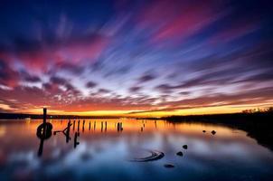 havssolnedgång foto