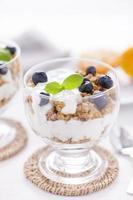 läcker dessert, flingor översvämmade i två smaker yoghurt foto