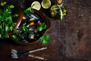 kokta musslor foto