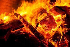 närbild eld av en ugn av trä foto