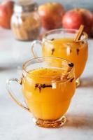 varm glögg kryddad äppelcider med kanel och kryddnejlika foto