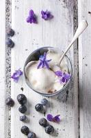 glass med sockrade violer foto