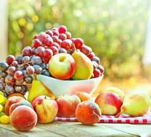 färska frukter i en skål foto