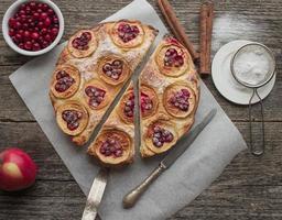 paj med äpplen, tranbär och kanel foto