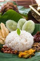 nasi lemak, en traditionell malaysisk maträtt foto