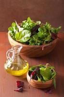 färska salladsblad i skålen: spenat, mangold, ruccola foto