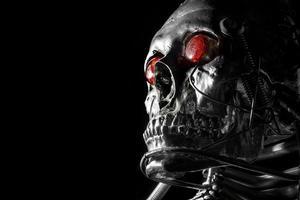 skalle av en robot av mänsklig storlek foto