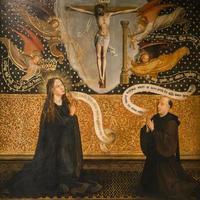 freskomålning av helgon-salvators katedral, Brugge, Belgien foto