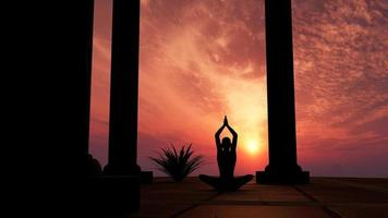 siluett öva yoga foto
