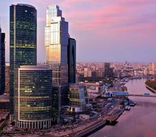 landskap av skyskrapor i Moskva, Ryssland foto