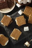 s'mores med marshmallows choklad och graham crackers