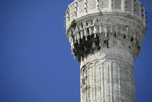 blå moské minaret foto