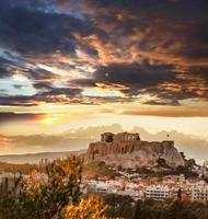 akropolis med parthenontempel i Aten, Grekland foto
