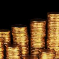 guld pengar stack makro foto