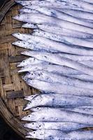 färsk fisk på asiatisk gatumarknad foto