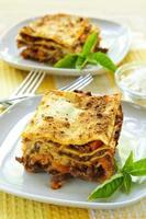 plattor med lasagne foto