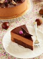chokladkaka med kastanjemousse brownie.