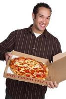 leende pizza man foto