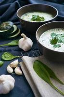 soppa med spenat och vitlök foto