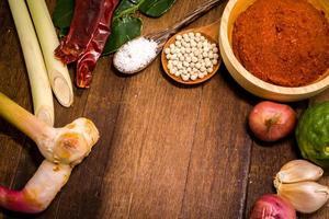 ingrediens i thailändsk röd curry pasta