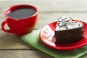 chokladhjärta och svart kaffe, kaka