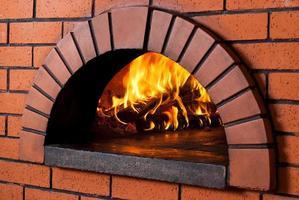 närbild av träeldad pizzaugn foto