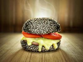 svart hamburgare