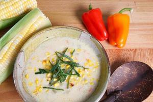 grädde baserad majs chowder soppa foto