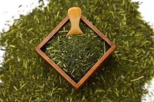 japanskt grönt te blad foto