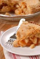 skiva äppelpaj med djup maträtt foto