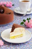 elegant choklad souffle tårta täckt med choklad velour, foto