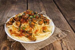 spaghetti med musslor foto