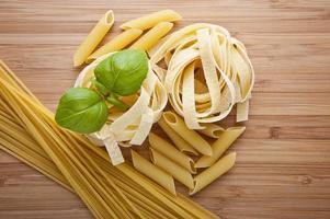 olika typer av pasta (spaghetti, fusilli, penne, linguine)
