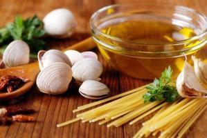 ingredienser för spaghetti med musslor