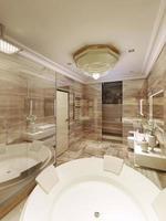 klassiskt badrum med tillgång till bastu