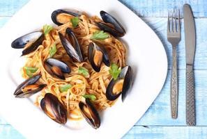 pasta med musslor skaldjur