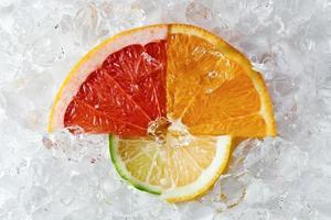 citrusfrukter med is foto