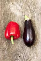 aubergine och paprika