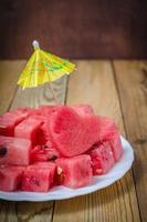 hjärtat av vattenmelon skivor av vattenmelon foto