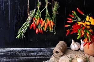 kryddor och örter gäng krydda varm paprika rosmarin timjan foto