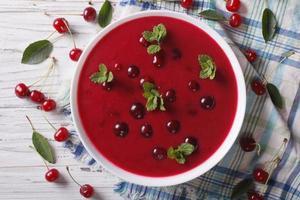 körsbärsröd soppa med mynta närbild. horisontell toppvy foto