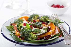 sallad med grönsaker, pepperoni och pomergranat