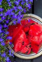 färska skivor vattenmelon. foto