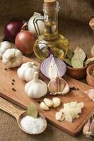 ingredienser och kryddor för matlagning foto