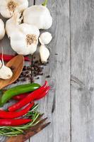 copyspace för vitlök, peppar och rosmarin foto