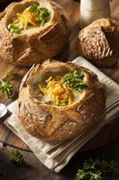 hemlagad broccoli och cheddarsoppa foto